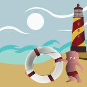 Safeguard on the beach near lighthouse — Stock Vector