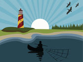 Fisherman on sea near lighthouse — Stock Vector
