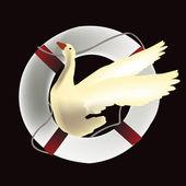 Goose design into a lifebuoy — Stock Vector