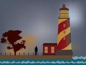 Man standing near lighthouse — Stock Vector