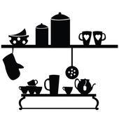 Kitchen set on black — Stock Vector