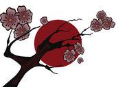 Árvore de cereja na bandeira japonesa — Vetor de Stock