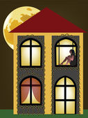 Girl standing on house window — Stock Vector
