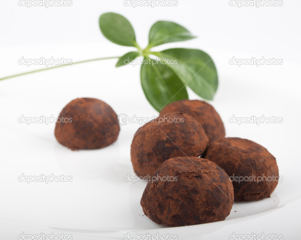 Delicious truffles on the white plate — Stock Photo #8679285