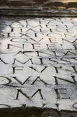 Appian Way (Appia Antica) tombstone inscription close-up — Foto de Stock
