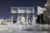 Rome, Italy, infrared Arch of Constantine and Coliseum — Stock Photo