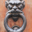 Old wooden main door demonic knocker detail, Rome, Italy — Stock Photo
