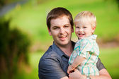 A portrait of a Dad and his little boy — Stock Photo