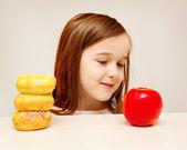 Healthy food or unhealthy food? — Stock Photo