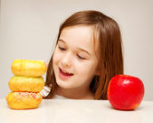 Healthy food or unhealthy food? — Stock Photo