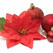 Fake poinsettia with christmas balls - Stock Photo