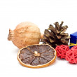 Stock Photo: Dried fruit and christmas decoration