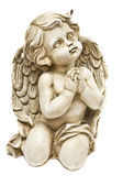 Clay angel praying towards God — Stock Photo