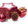 Stock Photo: Christmas candle and decoration