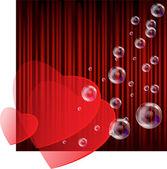 赤い背景の上の心 — ストックベクタ