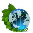 Stockvector : Globe and green leaves