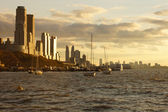 Sun setting on Manhattan and the Hudson River — Stock Photo