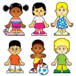 Stock Vector: Group of kids