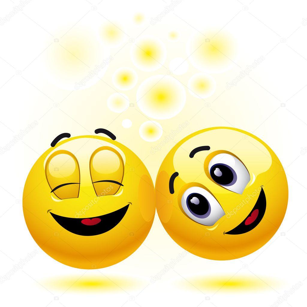 两个笑脸球很开心,享受每个其他公司– 图库插图