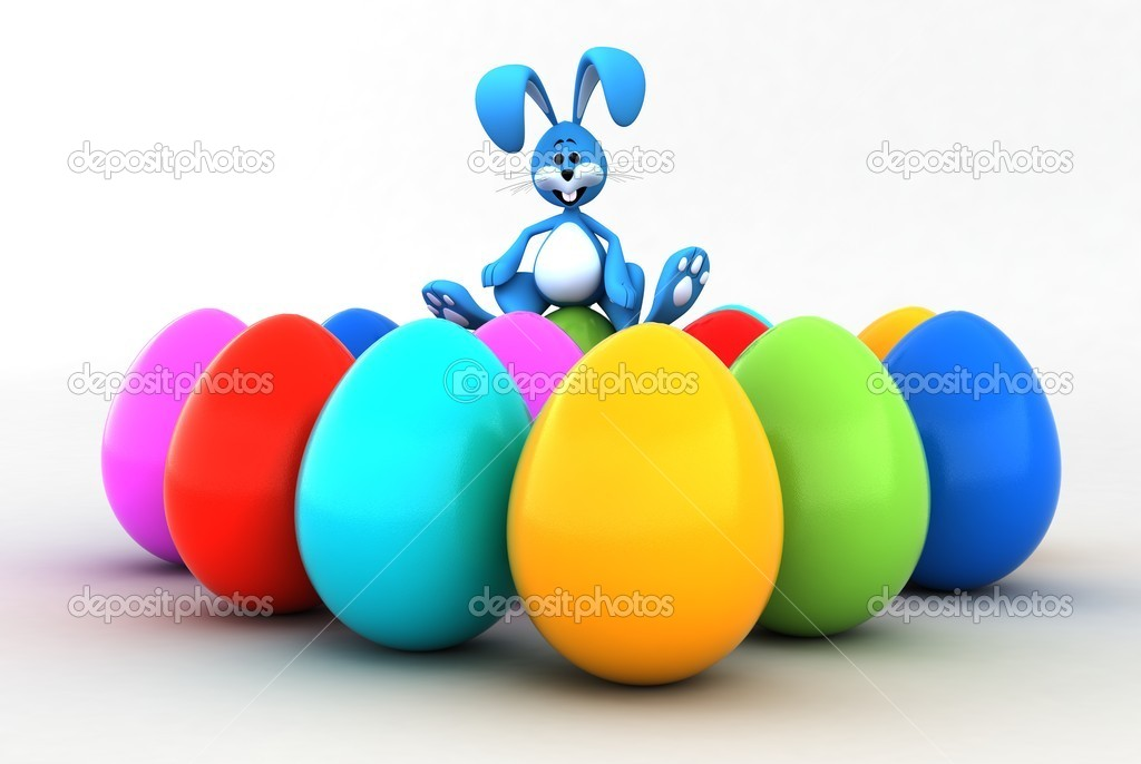 Easter bunny sitting on Easter eggs — Stock Photo #8961126