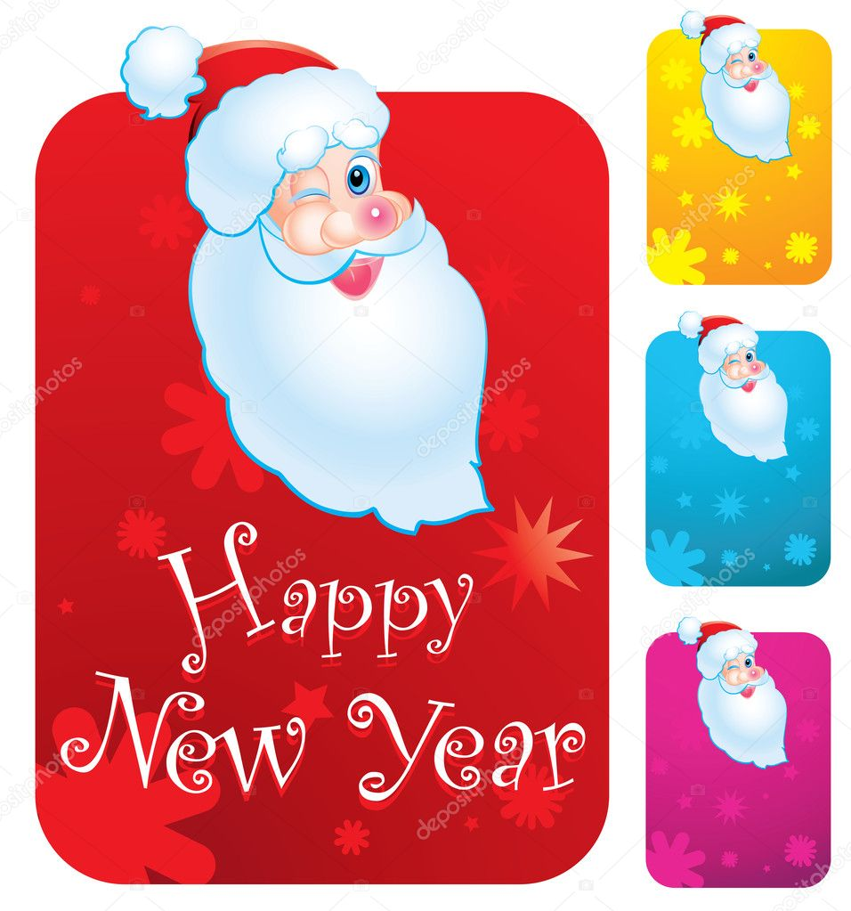 New year's cards with Santa Clause — Stock Vector #8968374