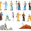 Stock Photo: Several representatives woman, workman, couple, man, dog and building site