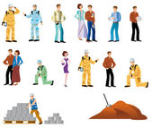 Several representatives woman, workman, couple, man, dog and building site — Stock Photo