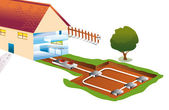 House with a pipe for underground geothermal heating and cooling — Stock Vector