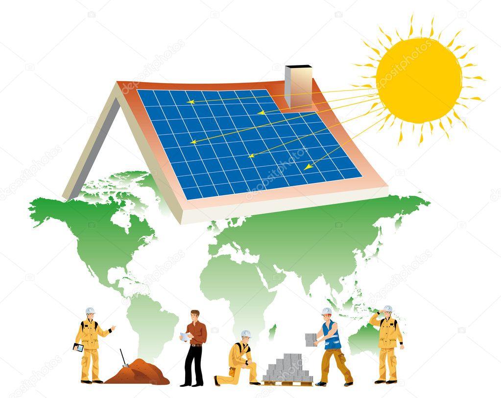 配有太阳能电池板的世界基础地图上盖房子的工人 — 矢量图片作者