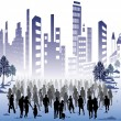 Stock Vector: Crowd of in city