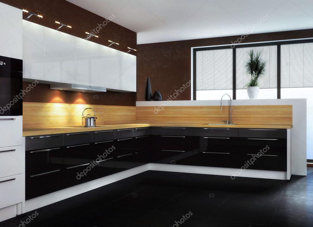 Черно белая кухня минимализм