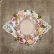Vintage background with retro frame with flowers and lace — Stock Photo