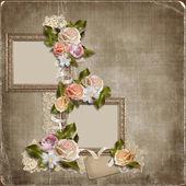 Старинный фон с рамы и розы — Стоковое фото