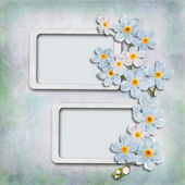 Vintage background with frames and flowers — Stock Photo