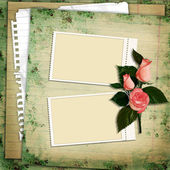 Stamp-frames with roses on vintage background — Stock Photo