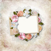 Vintage background with stamp-frame and roses — Stock Photo