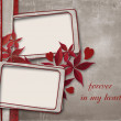 Vintage paper background with frame and leaves — Stock Photo
