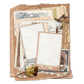 Old archive with letters, photos, money — Stock Photo