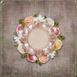 Vintage background with retro frame with flowers - Stock Photo
