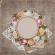 Vintage background with frame and flowers — Stock Photo #9955715