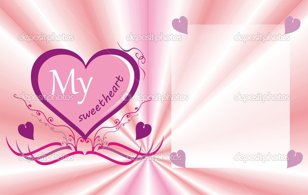 Pink valentine with heart — Stock Vector #8780588