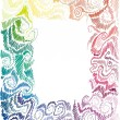 Royalty-Free Stock Immagine Vettoriale: Floral rainbow hand-drawn frame