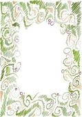 Floral hand-drawn frame — Vecteur