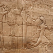 Ancient Egyptian paintings on the walls of the palace - Stock Photo