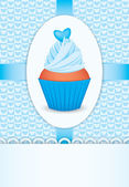 Scheda con cupcake e cuore — Vettoriale Stock