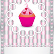 Royalty-Free Stock Vector Image: Card with cupcake and hearts