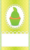 Card with lime cupcake — Vecteur