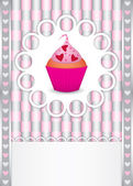 Card with cupcake and hearts — Stock Vector