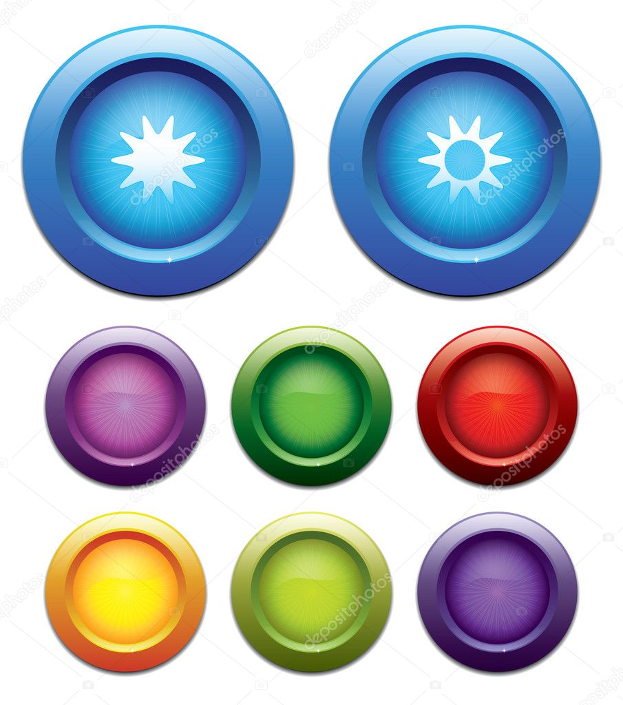 Brightness up - brightness down buttons, and more similar colorful buttons. EPS 10. — Stock Vector #8771616