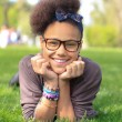 African american black girl child to the park — Stock Photo #10391154